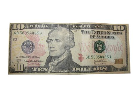 US Currency Ten Dollar Bill on White background.