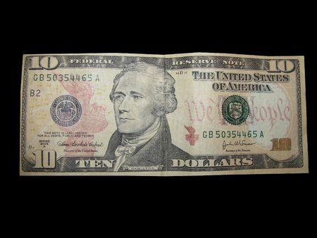 alexander hamilton: Valuta US Dollar Bill Dieci su isolati su sfondo nero.