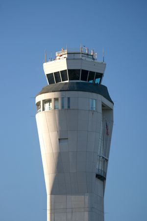 Seatac Airport ControlTower between Seattle and Tacoma at the international airport in Washington State. Stock Photo