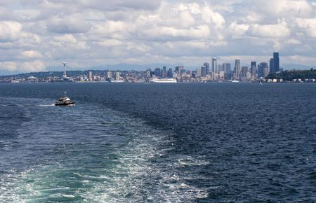 Seattle Skyline with Boat Wake and Space Needle photo