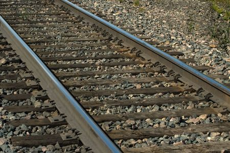 shiney: Train Tracks with Shiney Rails Stock Photo