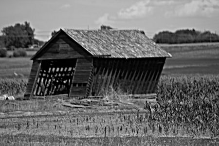 Black and White Old Barn Falling Down