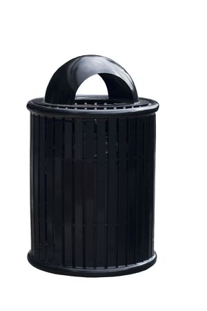 Black Trash Can or garbage can on a sidewalk