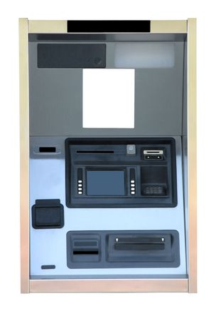 cash machine: Bank ATM Cash Machine Kiosk Isolated on a white background with copy space. Stock Photo