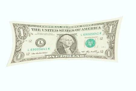 Isoalted US Dollar banknote Stretched over a white background. Imagens