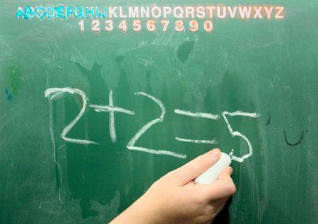 Negocios Math en Old School Verde pizarra. Dos y dos son cinco.