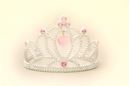 Princess Tiara Crown with Pink Heart Grems and White Diamonds on a white background.  Stock Photo