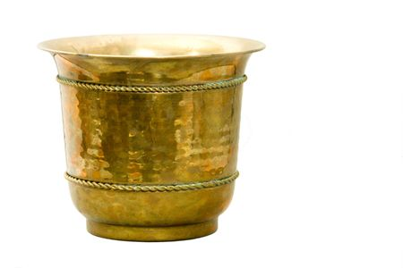Antique Hammered Brass Container on white background. Stock Photo