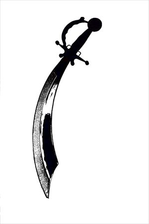 cutlass: Isolated Black and White Steel Pirate Cutlass Sword on a White Background.