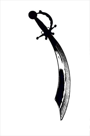 Isolated Black and White Steel Pirate Cutlass Sword on a White Background.