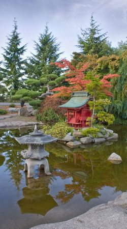 defiance: Pagoda at Japanese Garden captured at Point Defiance Park Tacoma Washington in the Pacific Northwest. Stock Photo