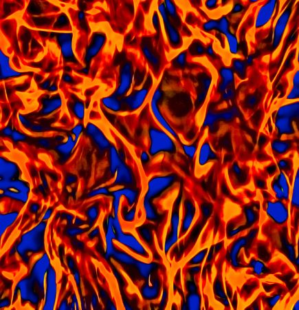 Abstract Orange Blue and Black Chaotic Hellish Fire Flames Background