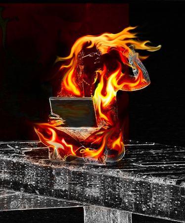정보 오버로드 초록 물 위에 부두에 앉아있는 동안 노트북과 불에 여자가있다.