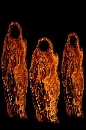 Three Orange Halloween Ghosts or Ghouls isolated on a black background. Stock Photo
