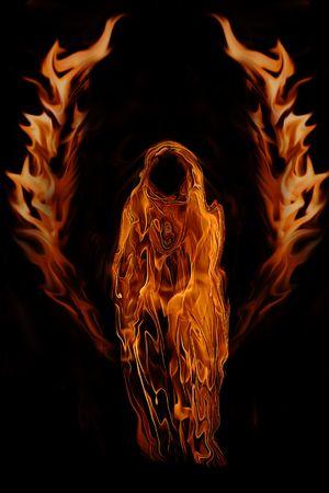 Firey Dark Ghost Angel del Infierno aislado en un fondo negro.