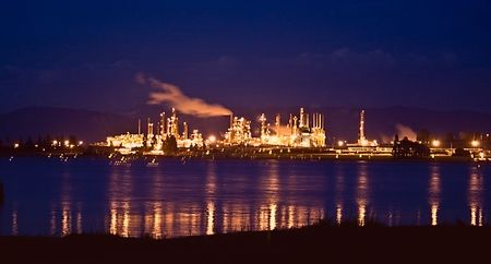 Oil Refinery at Night at Anacortes on the Puget Sound in Washington State.