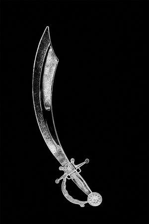 cutlass: Espada de pirata Cutlass acero aislada aislada sobre un fondo blanco.  Foto de archivo