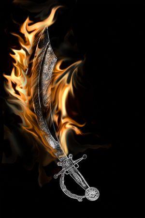 cutlass: Espada de pirata Cutlass llamas aislado sobre un fondo negro. Foto de archivo