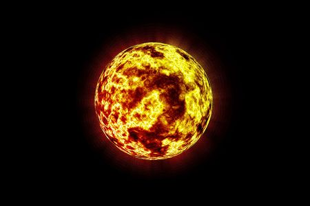 Fiery Flames on Red and Yellow Planet Isolated on a Black Copy Space Background. Stock Photo