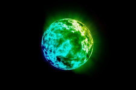 Planet Green ambiental aislado sobre un fondo negro Copy espacial.