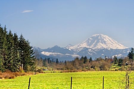 Mt. Rainier viewed from across a field in Washington State in the Pacific Northwest part of the United States. Stock Photo