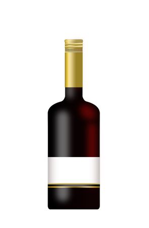 Bottle of Wine with a blank label isolated on a white background.