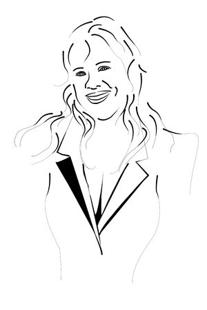 Attractive Friendly Sexy Woman Black and White Line Drawing  photo