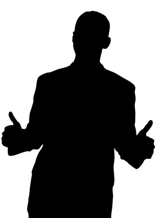 Male Silhouette with Two Thumbs Up isolated on a white background.