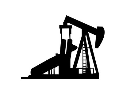 Oil Well Silhouette isolated on a white background.