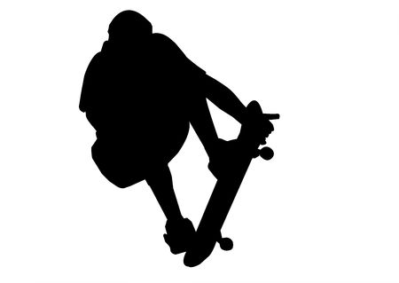 Skateboarder Silhouette isolated on a white background.