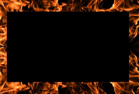 Flames of Fire Background Frame with Black Copy Space. photo