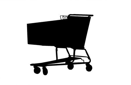 Shopping Cart Silhouette isolated on a white background. photo