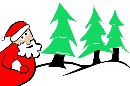 Santa Claus Christmas Trees and Winter Snow Background. Stock Photo - 6062200
