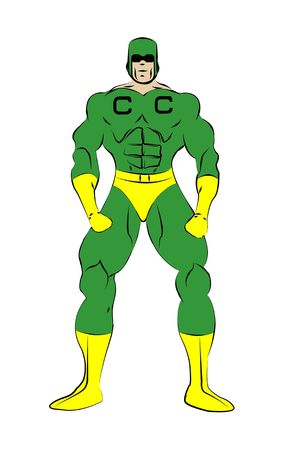 Captain credit muscle shaped generic male superhero in tight green and yellow costume isolated on a white background.