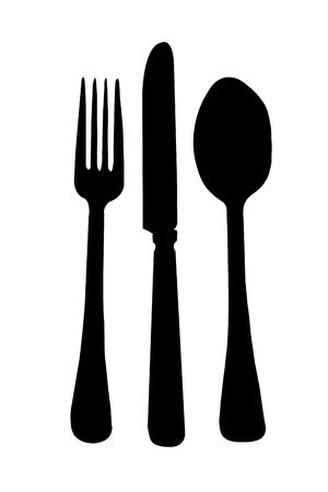 table knife: Dinning Room Knife Fork Spoon Place Setting Silhouette isolated on a white background.