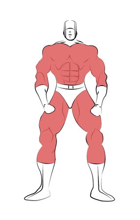 Muscle shaped generic male superhero in tight red costume isolated on a white background.