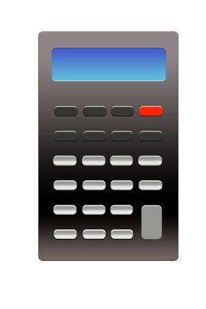 Calculator Template Illustartion geïsoleerd op een witte achtergrond.  Stockfoto