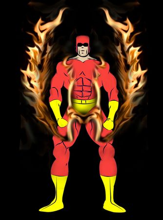 Generic Male Superhero with Wings in tight Red and yellow Costume isolated on a white background.