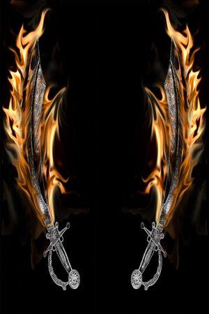 cutlass: Flaming espada de pirata Cutlass aislada sobre un fondo negro.