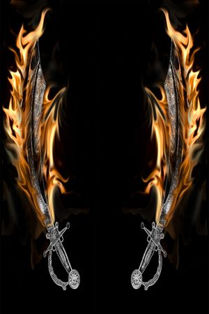 Vlammend zwaard Pirate Cutlass. Caption = Losse op een zwarte achtergrond.