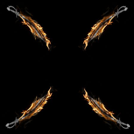 Four Flaming Pirate Cutlass Swords Isolated on a Black Background. photo