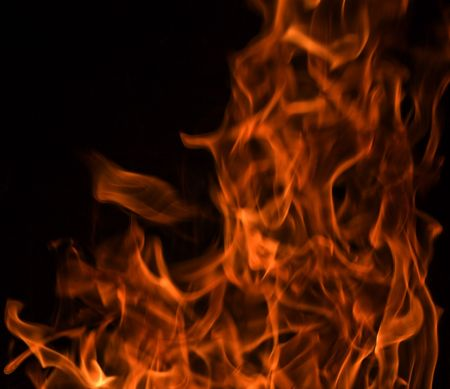 Red Fire Flames of Hell against a black background. Stock Photo - 6152144