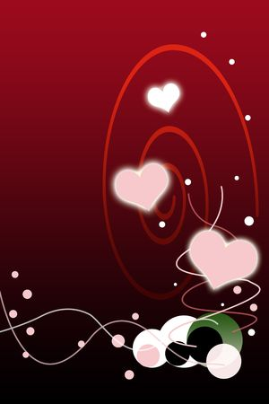 romance: Valentines Day Red Gradient Background with Bubbles Illustration.