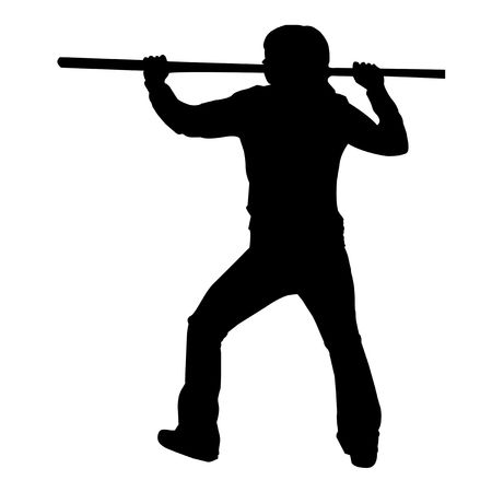 Martial Arts Male or Female with Quarter Staff or Bo Silhouette Illustration. Stock fotó - 6162868