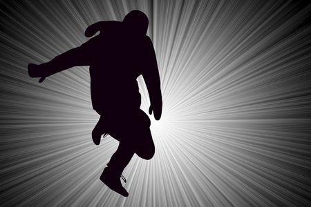 Breakdancer Dancing with mittens Silhouette illustration.   Imagens