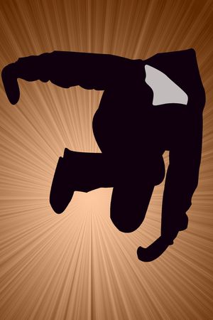 Breakdancer Dancing with mittens Silhouette illustration background.