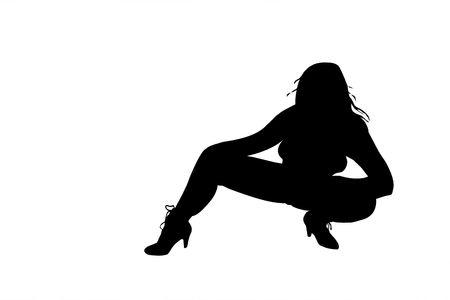 Silueta de mujer sexy con patas y botas de tac�n alto aislado en un fondo blanco.