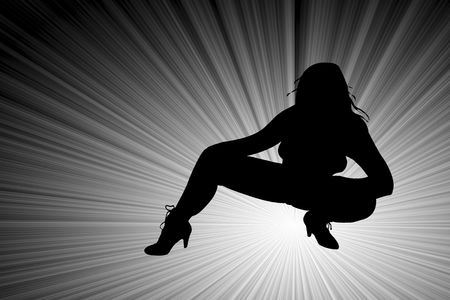 high heeled: Sexy Female Silhouette with legs and high heeled boots isolated on a white background.  Stock Photo