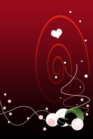 festive background: Valentines Day Red Gradient Background with Bubbles Illustration.