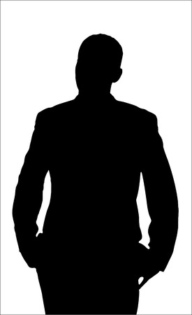 Annoyed Man Silhouette isolated on a white background.    Vector